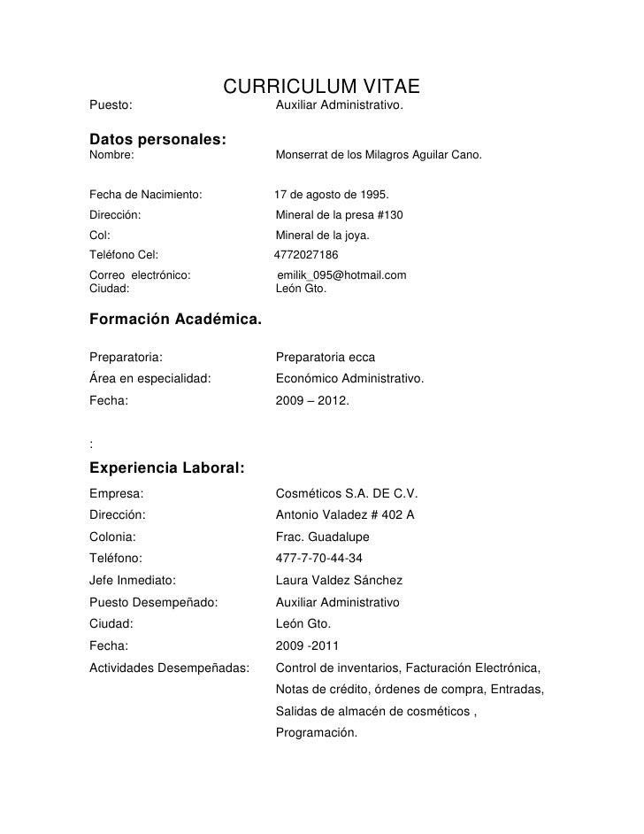 Asombroso Currículum Vitae Oficial Administrativo Molde - Colección ...