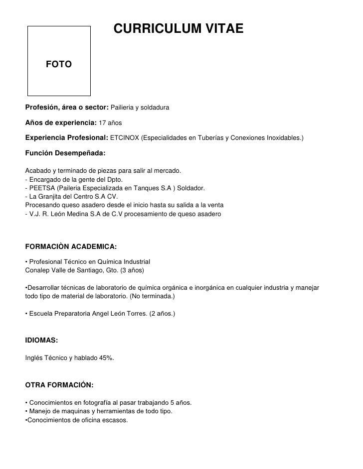 Ejemplo De Un Curriculum Vitae Mexico Techysolution Com