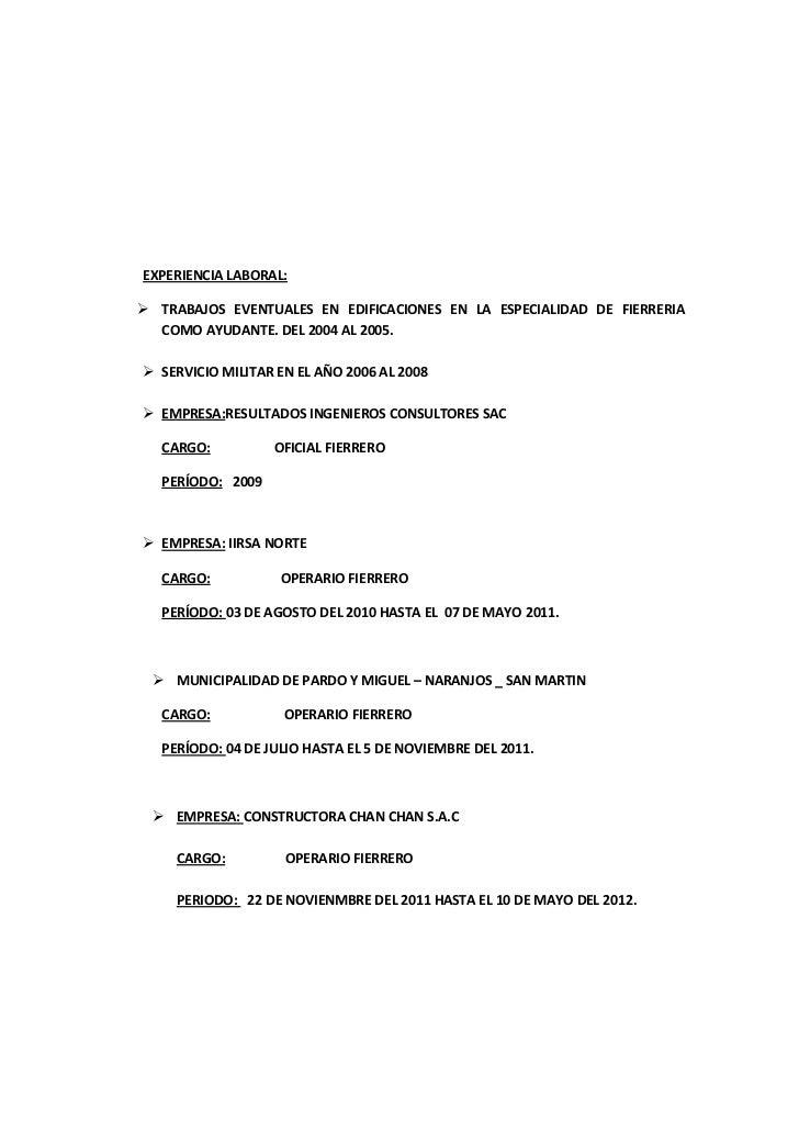 Encantador Currículum Militar Festooning - Ideas De Ejemplo De ...