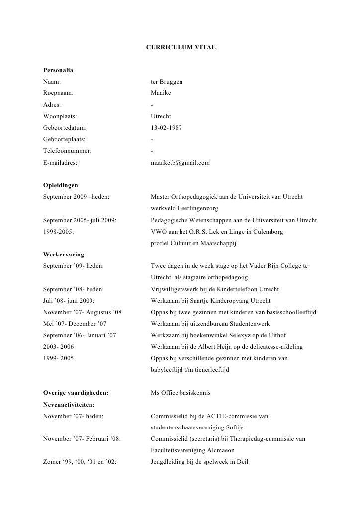 overige vaardigheden cv Curriculum Vitae