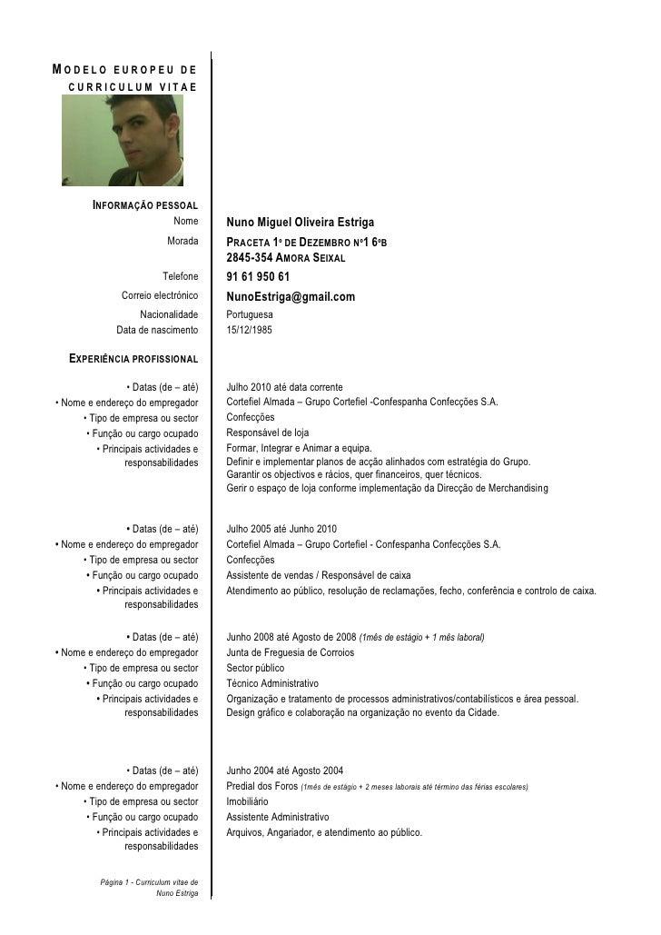 Curriculum Vitae Europeu Portugues Word Stie Pertiwi Ac Id