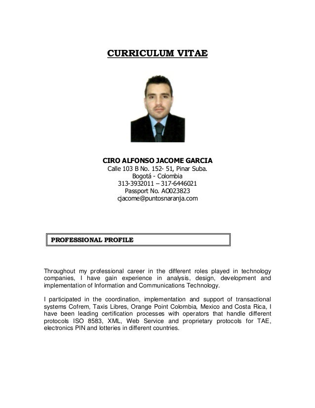 Curriculum Vitae Ciro Jacome