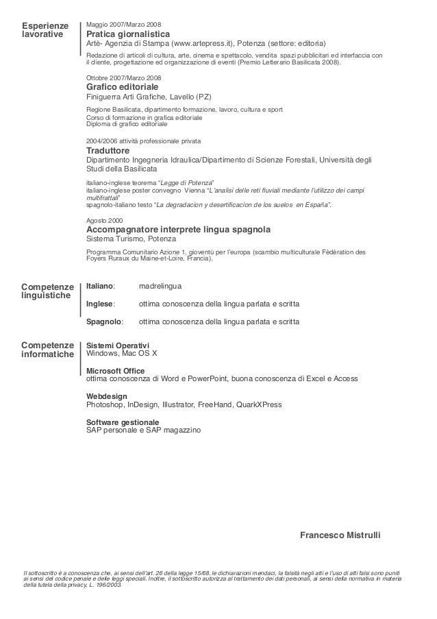 curriculum vitae italian