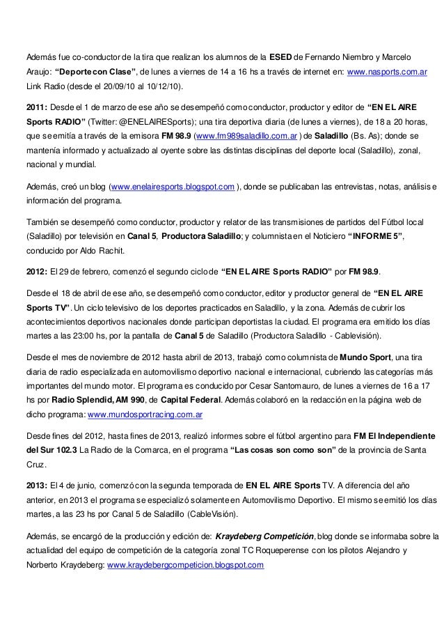 CURRICULUM VITAE - MARTÍN PACE - PERIODISTA DEPORTIVO