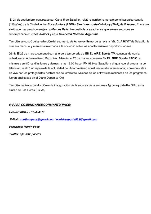 Curriculum Vitae Martin Pace Periodista Deportivo