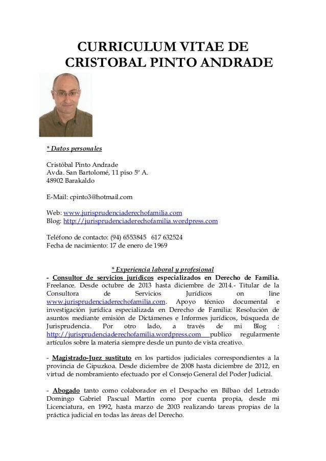 CURRICULUM VITAE DE CRISTOBAL PINTO ANDRADE * Datos personales Cristóbal Pinto Andrade Avda. San Bartolomé, 11 piso 5º A. ...