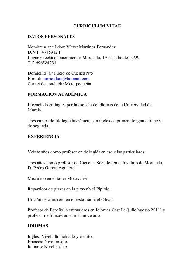 Curriculum vitae. Victor Martinez Fernandez