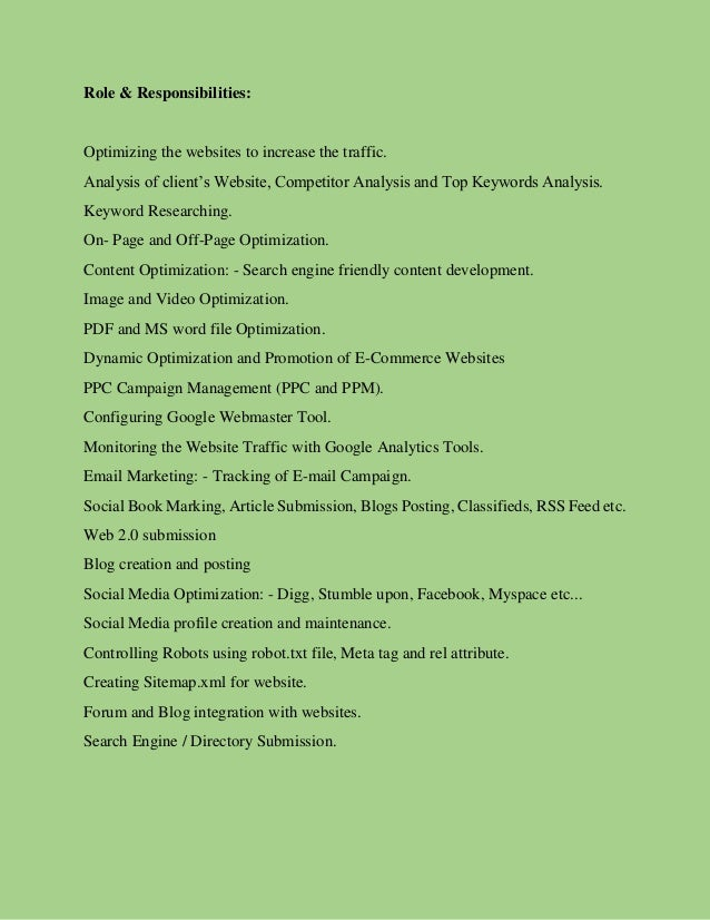 search engine optimization resume