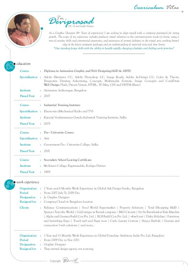 curriculum vitae for 8  years of experience in ux  ui and graphic des u2026