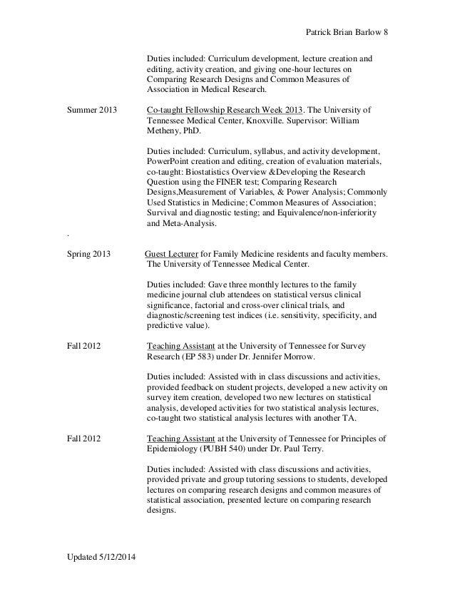 Revised 5 14 Curriculum Vitae Barlow