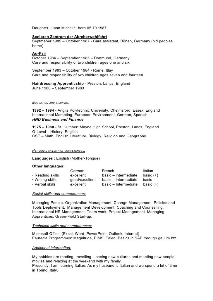 curriculum vitae english version 2009