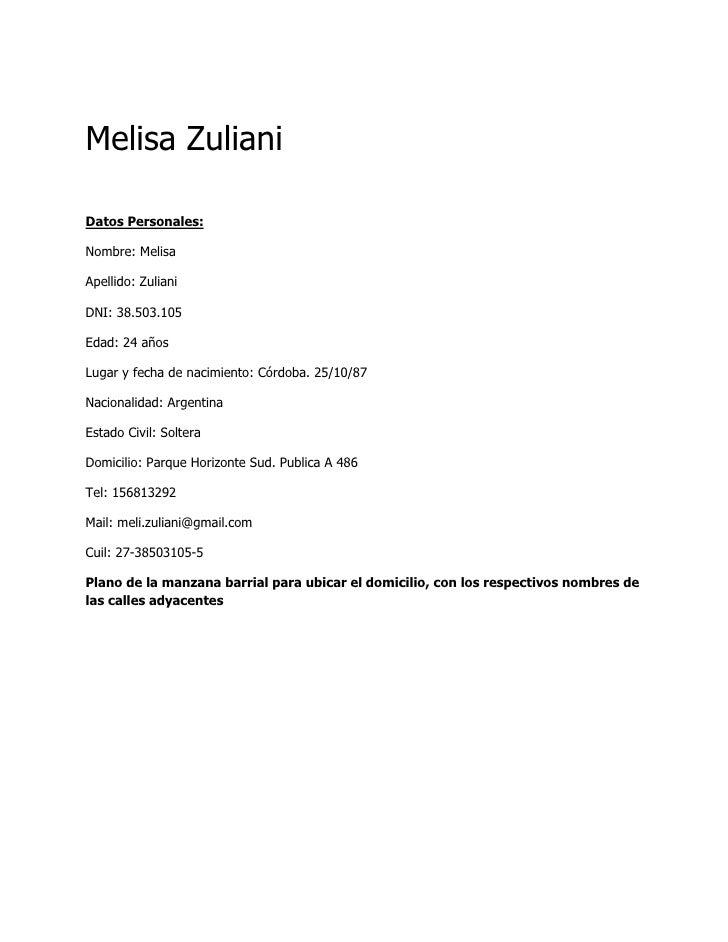 Curriculum Vitae Meli Bien Hecho