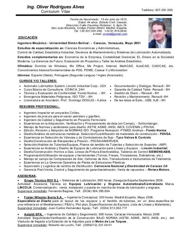 Curriculum vitae oliver rodrigues - ingeniero mecánico - madrid - 0…