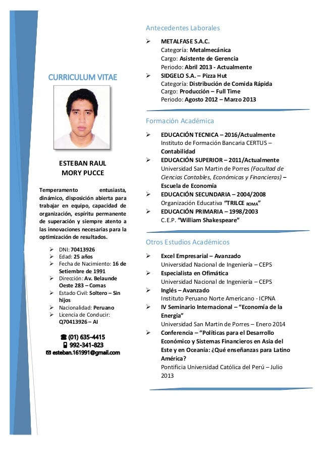 Curriculum Vitae Esteban Raul Mory Pucce