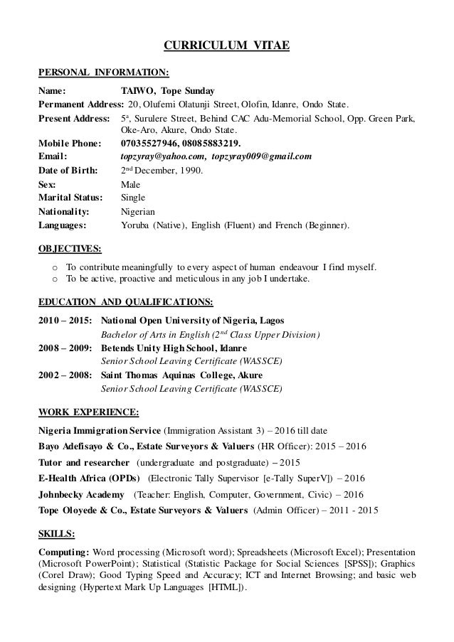 Usajobs Resume Builder Taiwo Tope Sunday Cvresume Resume Critique Free with Process Engineer Resume Pdf Curriculum Vitae Personal Information Name Taiwo Tope Sunday Permanent  Address   Rn Case Manager Resume Pdf