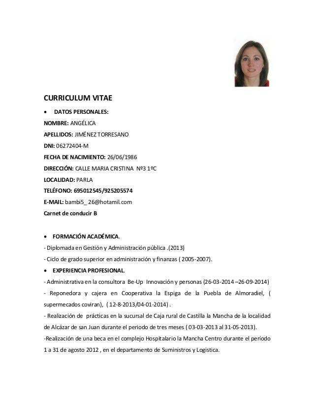curriculum vitae ang u00e9lica pdf