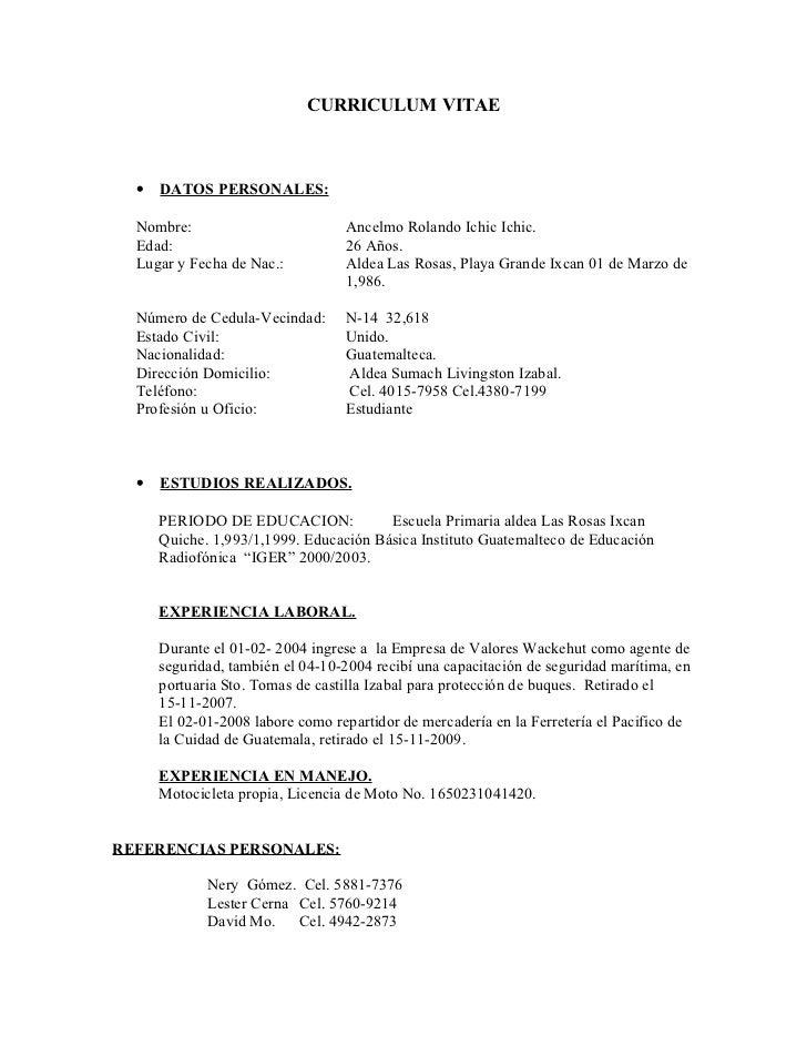 Curriculum Vitae Anselmo Ichic Agosto 2012