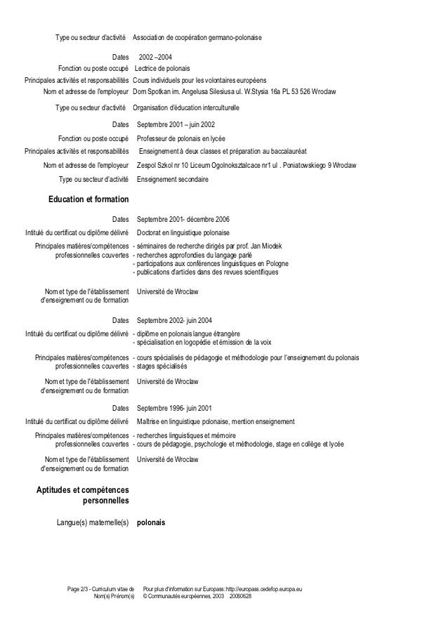 curriculum vitae formatrice de polonais