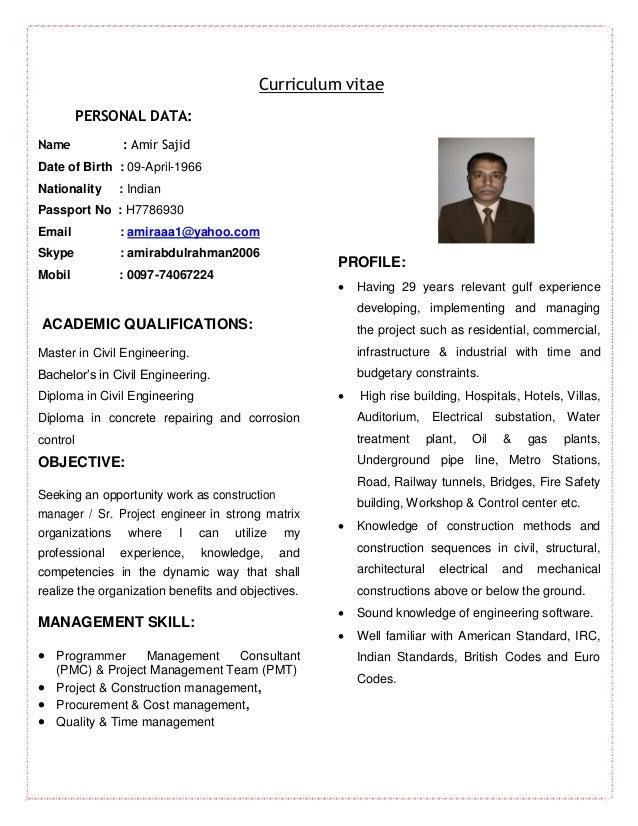 Curriculum vitae contractor civil engineer -