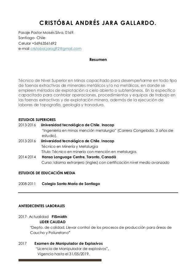 Curriculum Vitae Cristobal Jara G