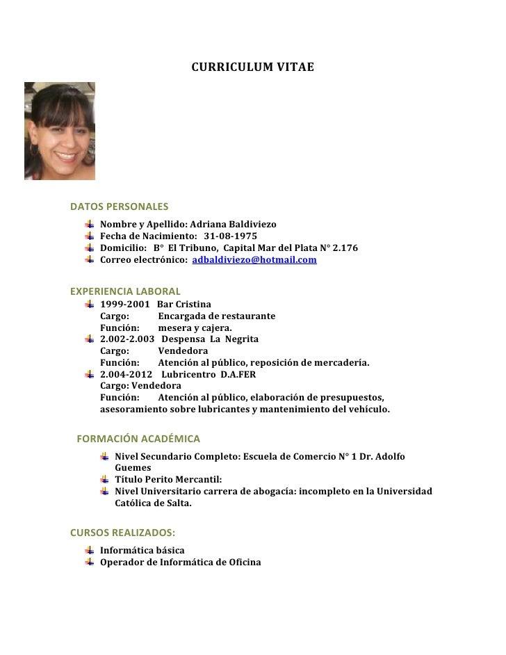 Curriculum vitae de adriana