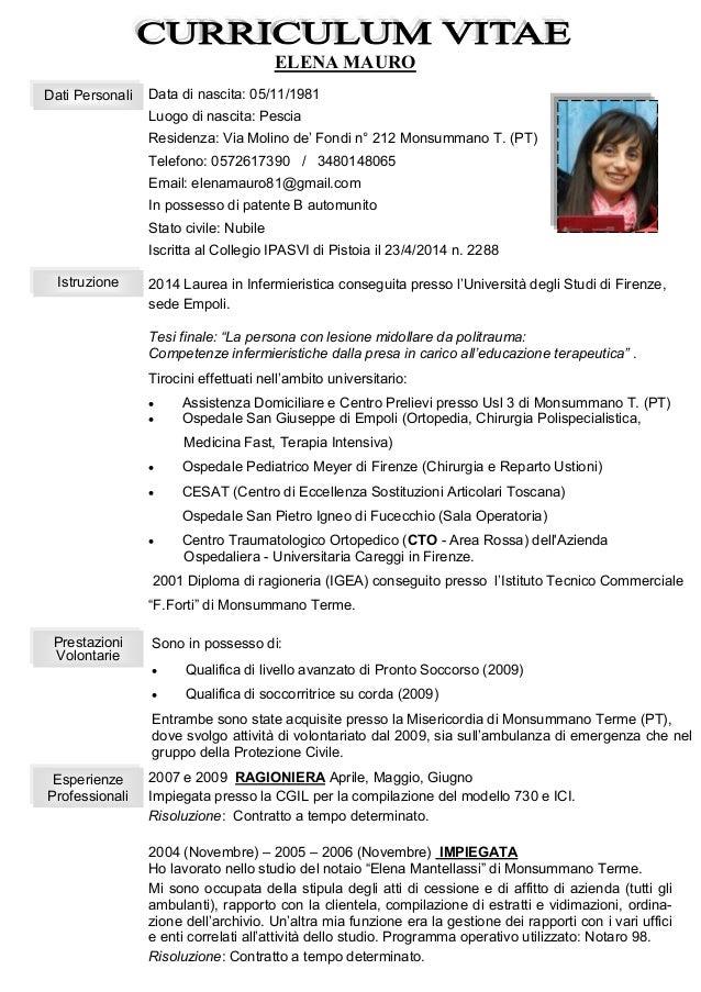 Esempio Curriculum Vitae Europeo Infermiere Majersklep Freeline Pl