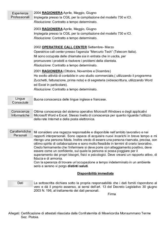 Curriculum Vitae Contabile Esempio Firmakoek