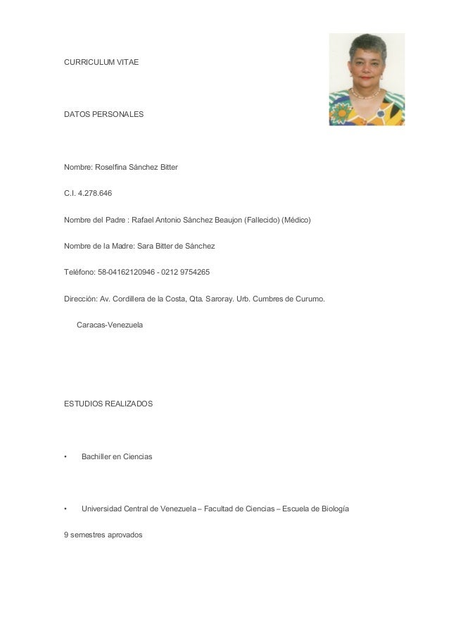 Curriculum Vitae En Espanol Con Foto Y Recomendacion