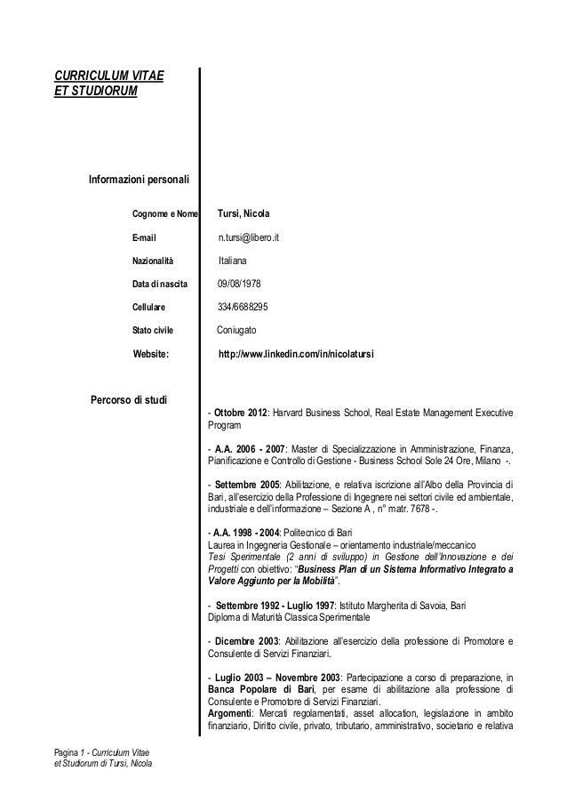 curriculum vitae et studiorum nicola tursi