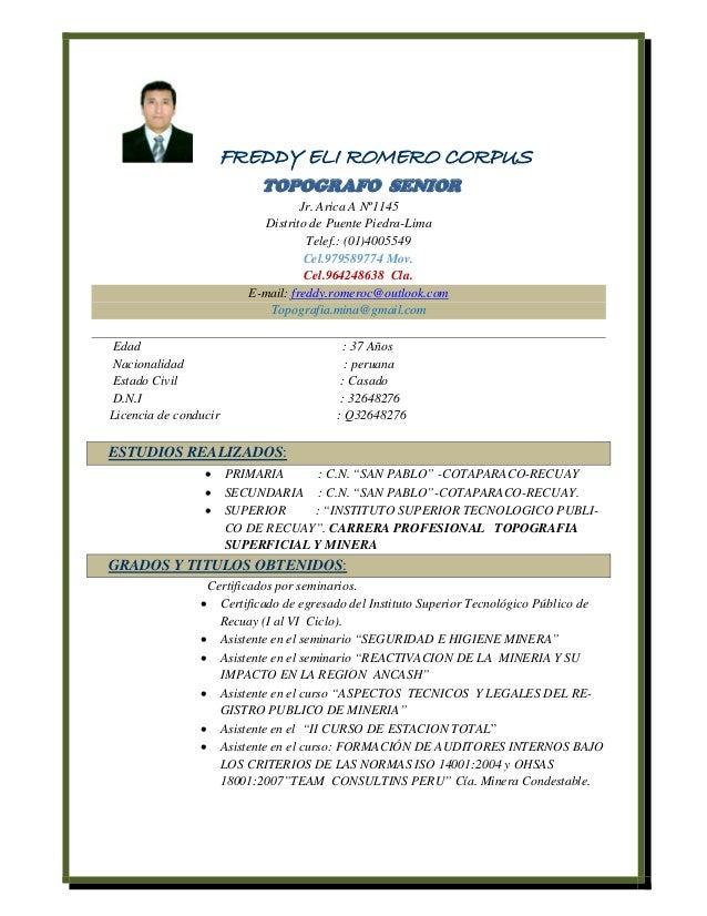 Curriculum Vitae de Freddy Romero Corpus