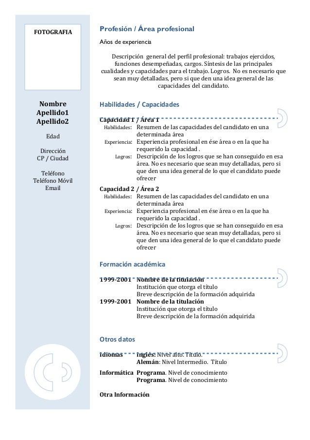 curriculum vitae funcional sencillo