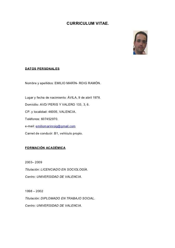 Curriculum Vitae Funciones Y Cursos Trabajo Social Y Sociologia Emili