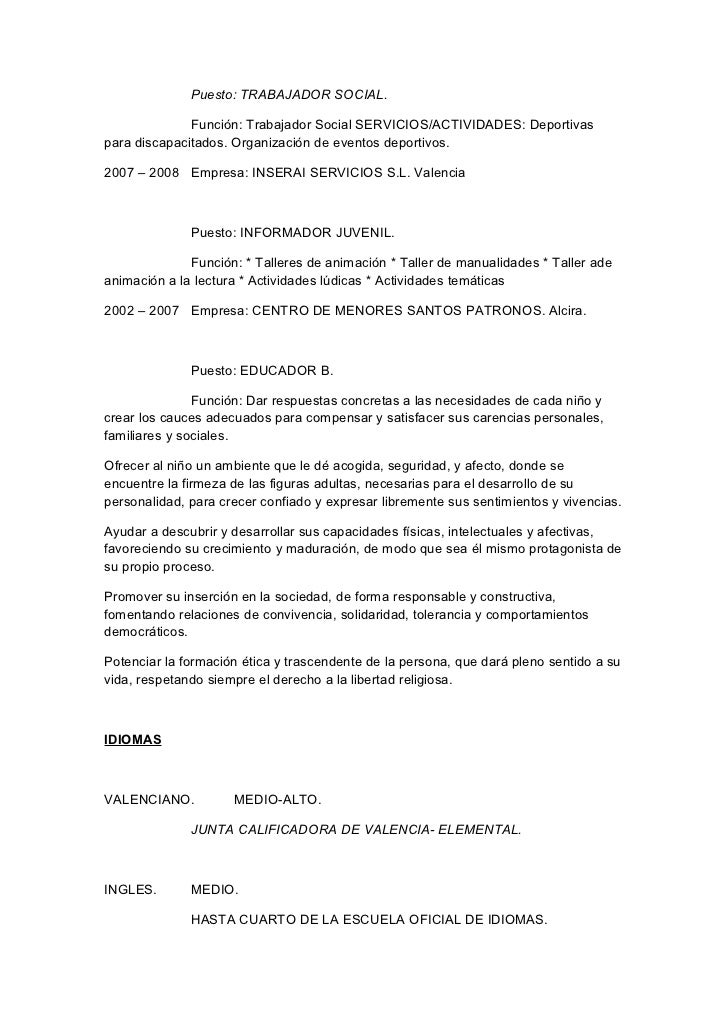 Curriculum vitae funciones y cursos trabajo social y sociologia emili…