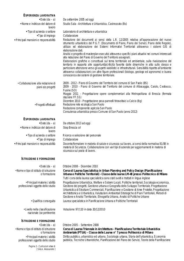 esempio di curriculum vitae europeo assistente alla poltrona