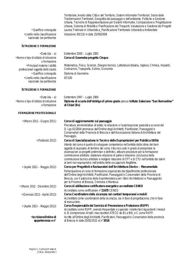 curriculum vitae aggiornamento ottobre 2013