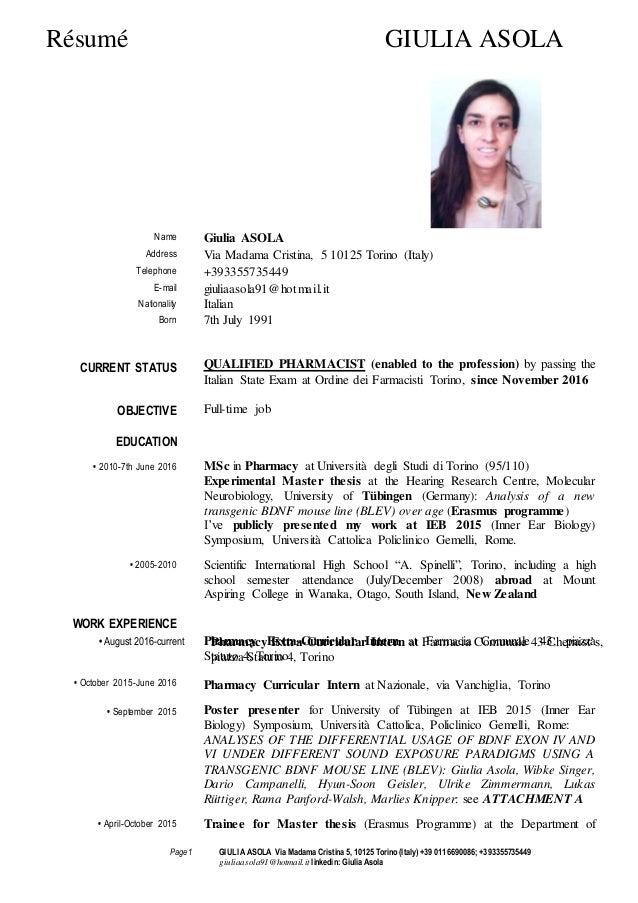 curriculum vitae giulia asola resume pharmacy