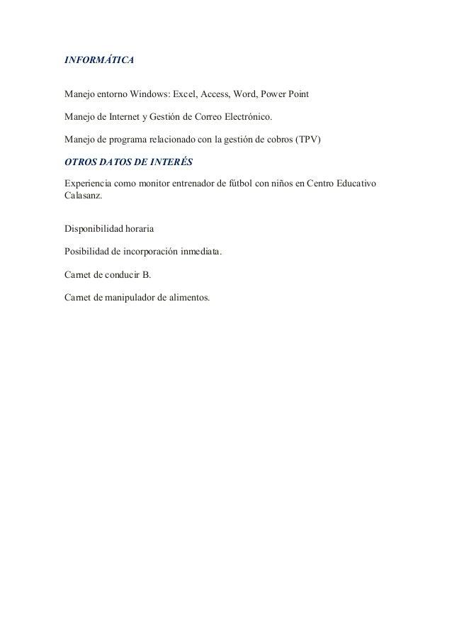 Curriculum vitae ivan for Muebles rodero