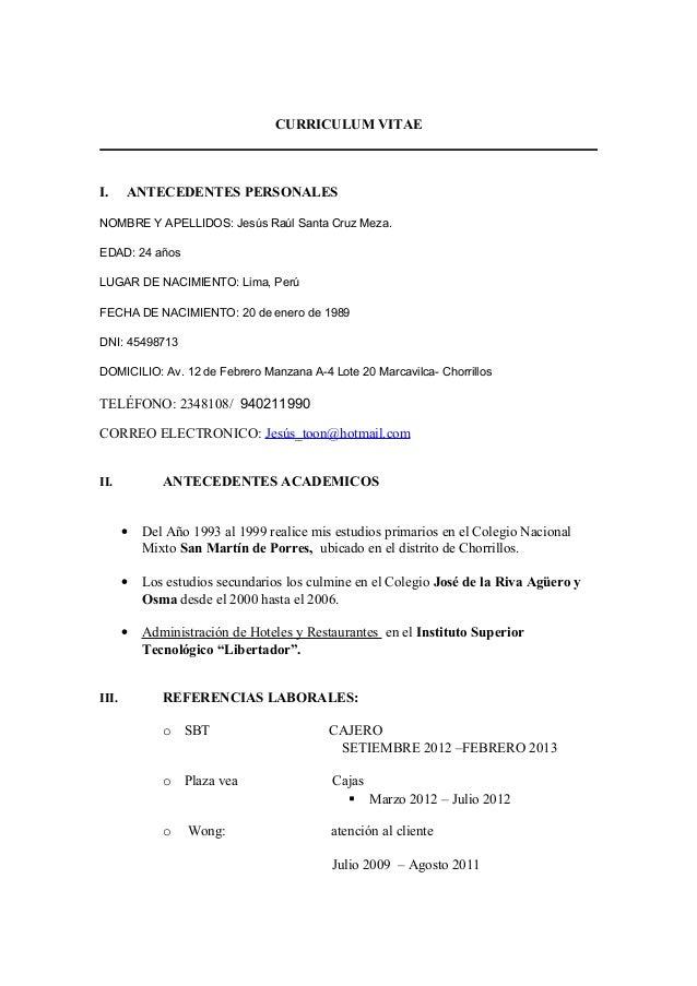 Curriculum vita ejesus2012