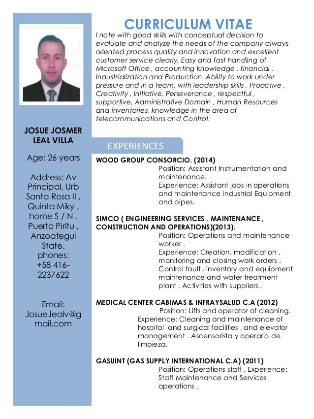 curriculum vitae josue leal english