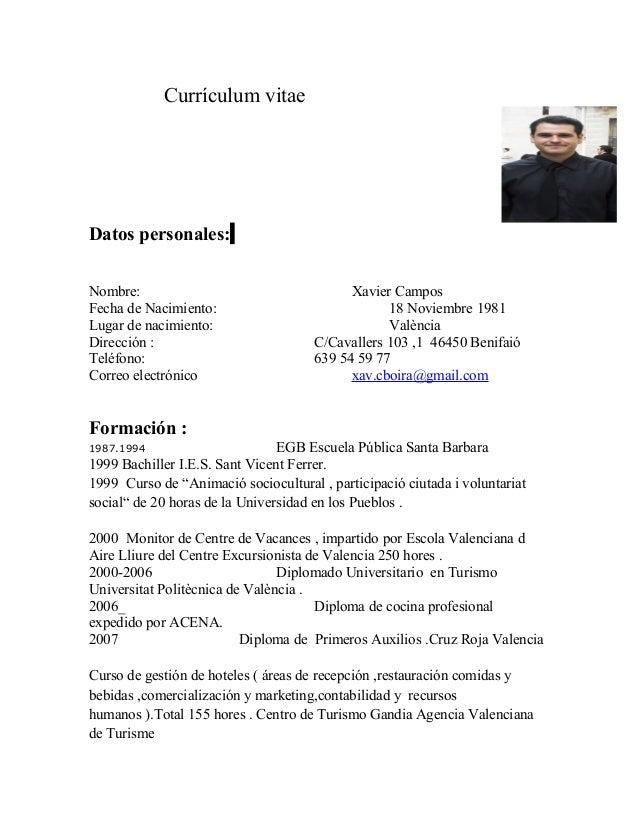 Ayudante Cocina Valencia | Curriculum Vitae 2013