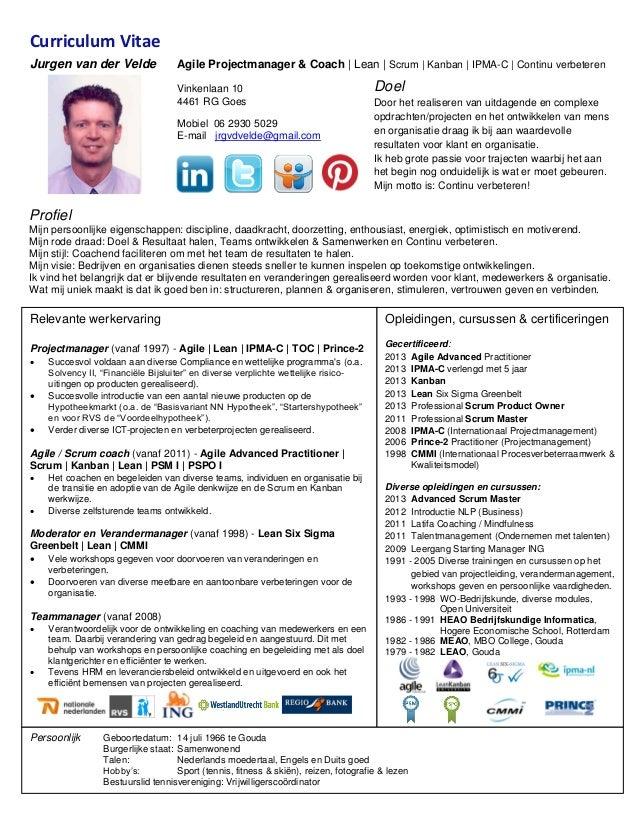 cv nieuwe stijl 2016 Curriculum vitae Jurgen van der Velde 2013 11
