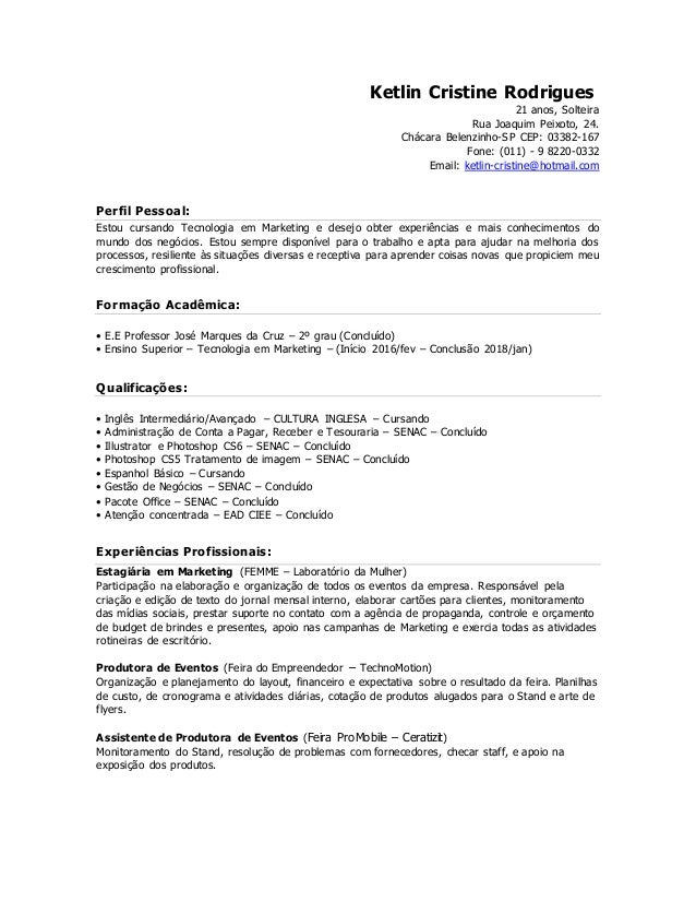 Curriculum Vitae Ketlin Rodrigues