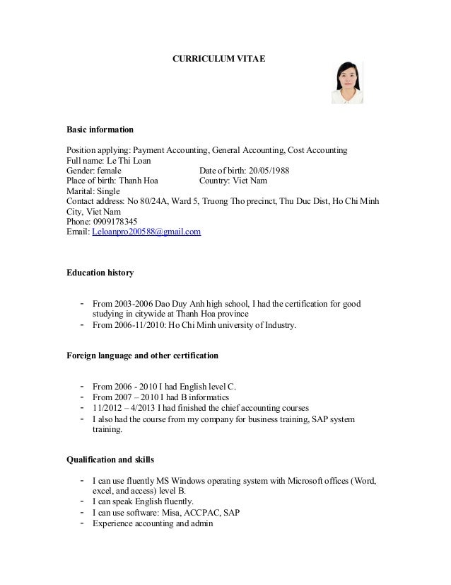 CV for Payment accounting, General accounting, Cost accounting