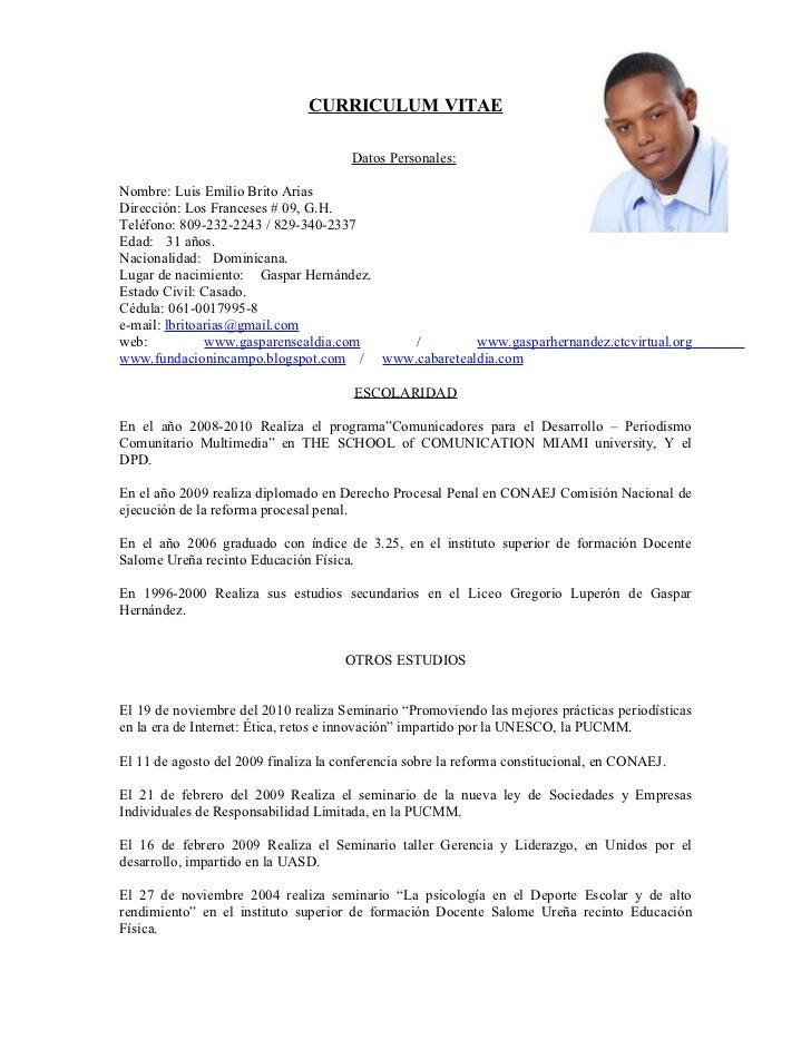 Curriculum Vitae Luis Brito