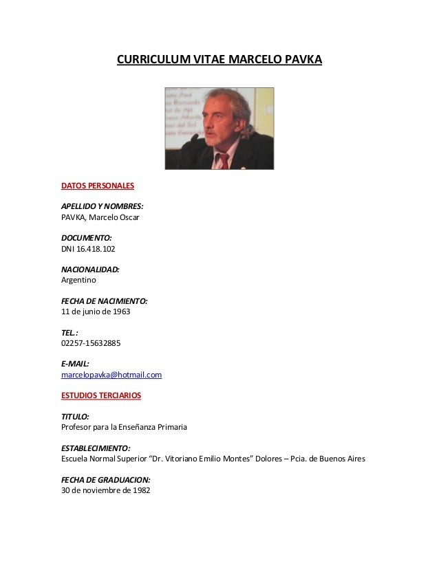 Curriculum Vitae Marcelo Pavka