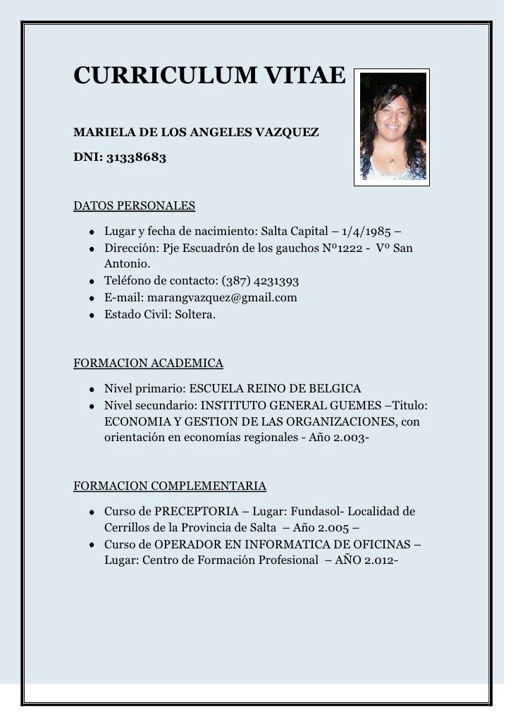 Curriculum Vitae Mariela 1