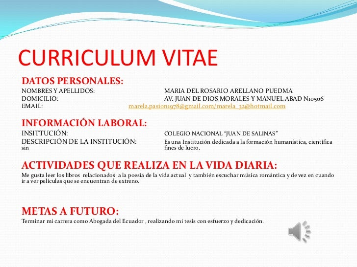 CURRICULUM VITAEDATOS PERSONALES:NOMBRES Y APELLIDOS:                                 MARIA DEL ROSARIO ARELLANO PUEDMADOM...