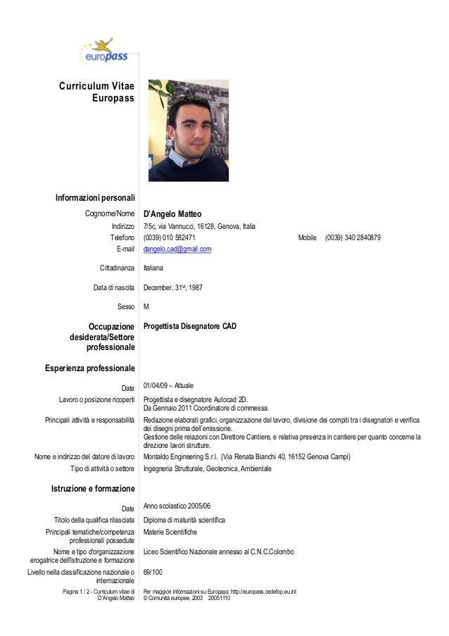 Curriculum Vitae Esempi Europass