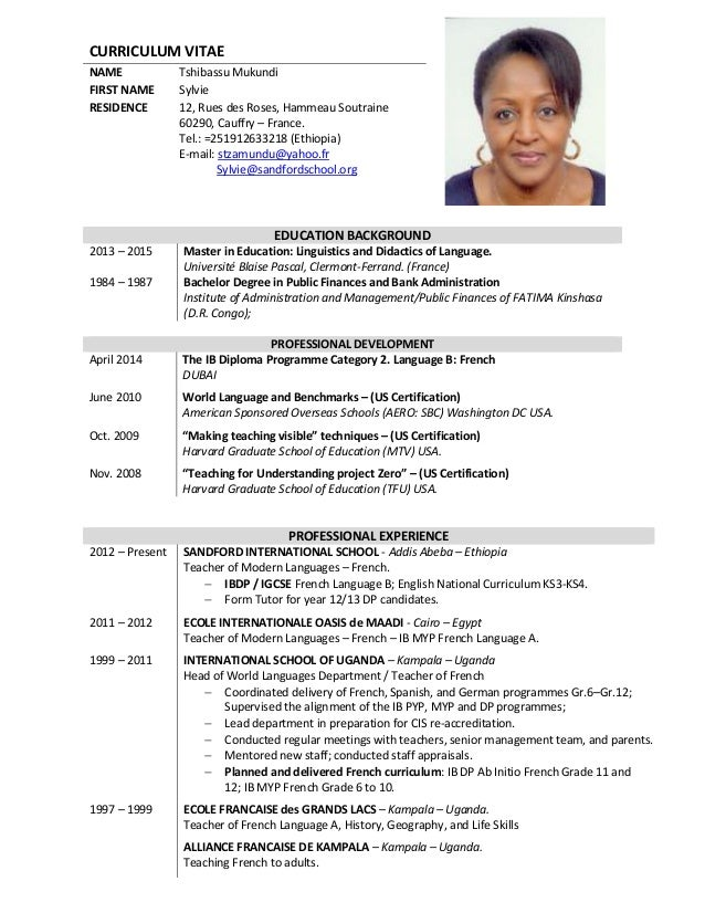 curriculum vitae name tshibassu mukundi first name sylvie residence 12 rues des roses - Curriculum Vitae French