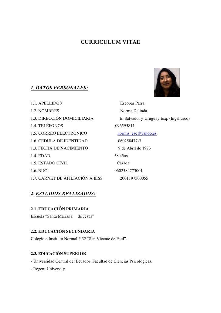 Curriculum Vitae Norma Escobar
